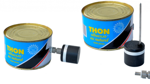 temperature probe to measure fish in can